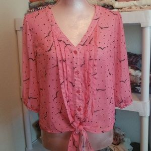 Pretty Pinky Sheer Top With Birds SZ L